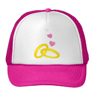 Gold wedding rings bands with love hearts trucker hat