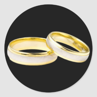 Gold Wedding Rings Custom Background Color Classic Round Sticker