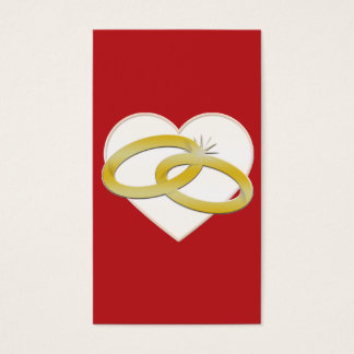 Gold Wedding Rings Heart Romantic Bridal Business Card