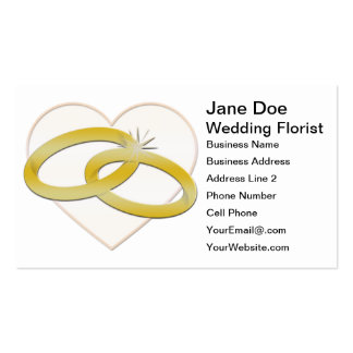 Gold Wedding Rings Heart Romantic Bridal Business Card Templates