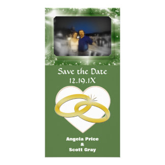 Gold Wedding Rings Heart | Romantic Save the Date Card