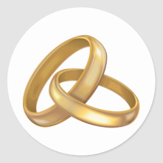 Gold Wedding Rings Intertwined Classic Round Sticker