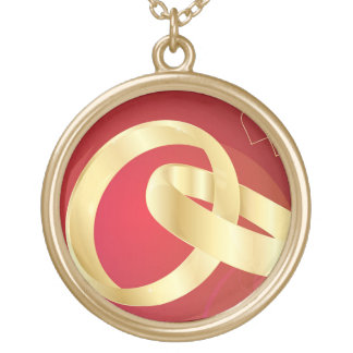Gold-Wedding-Rings.jpg GOLD GOLDEN WEDDING RINGS Round Pendant Necklace