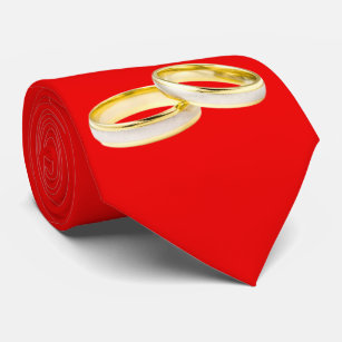 Gold Wedding Rings on Red Tie