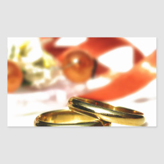 Gold Wedding Rings Rectangular Sticker