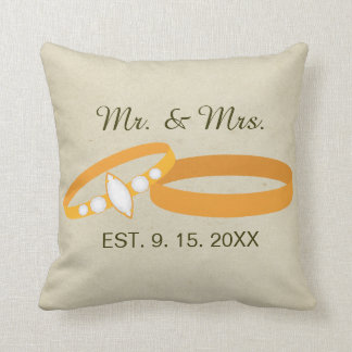 Gold Wedding Rings | Save the Date | Mr. & Mrs. Throw Pillow