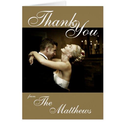 Gold Wedding Thank You Photo Card Template