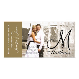 Gold Wedding Thank You Photo Cards Template