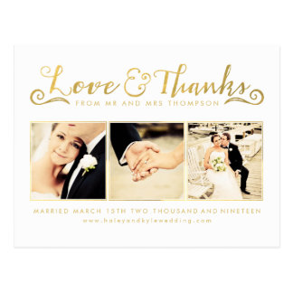 Gold Wedding Thank You Script Typography Photo Postcard