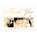 Gold Wedding Thank You Script Typography Photo Post Cards
