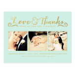 Gold Wedding Thank You Script Typography Photo Post Card