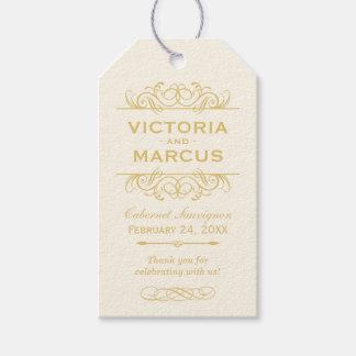 Gold Wedding Wine Bottle Monogram Favor Tags