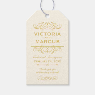 Gold Wedding Wine Bottle Monogram Favor Tags Pack Of Gift Tags