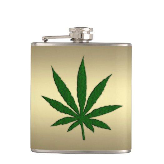 Gold Weed Leaf Flasks