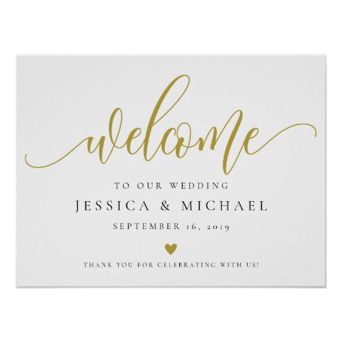 Gold Welcome Wedding Sign