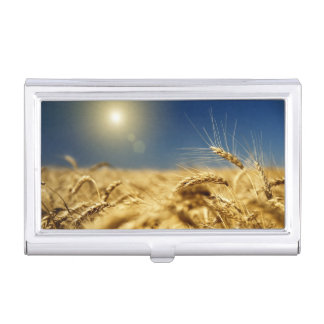 Gold wheat and blue sky with sun case for business cards