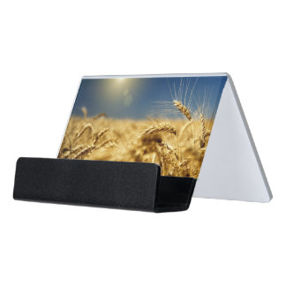 Gold wheat and blue sky with sun desk business card holder