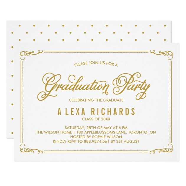 Gold Whimsical Border and Script Graduation Card