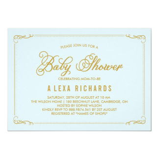 light blue gold baby shower gifts on zazzle, Baby shower invitations