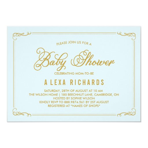 Gold Whimsical Borders Light Blue Baby Shower Card | Zazzle