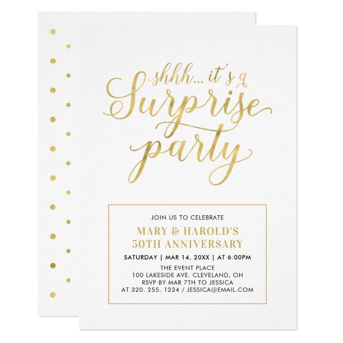 Gold White 50th Surprise Wedding Anniversary Invitation Zazzle Com