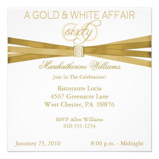 Gold & White 60th Birthday Party Invitations