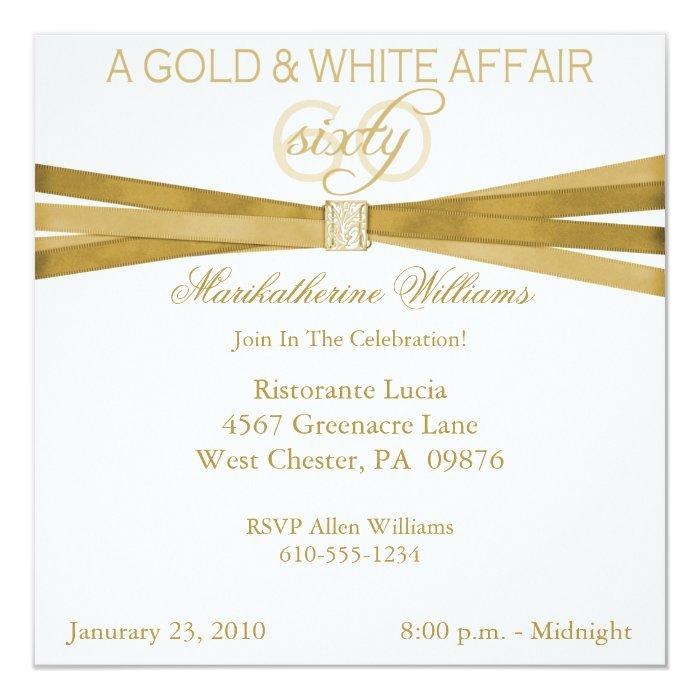 Gold & White 60th Birthday Party Invitations   Zazzle