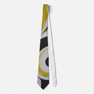 Gold white and black abstract arty neck tie