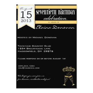 Gold, White and Black Champagne 70th Birthday Card