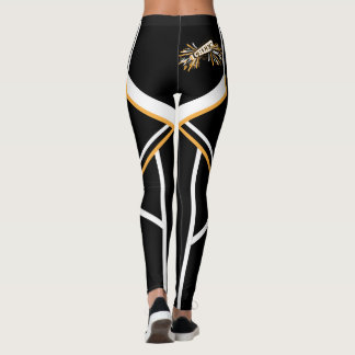 Gold, White and Black Cheerleader Megaphone Leggings