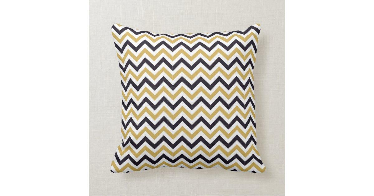 Gold, White and Black Chevron Design Throw Pillows Zazzle