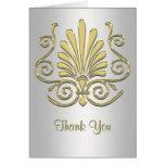 Gold White Art Deco Damask Thank You Card