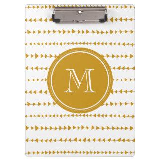 Gold White Aztec Arrows Monogram Clipboard