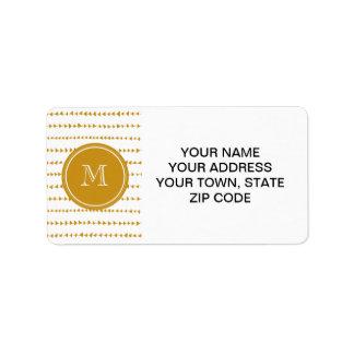 Gold White Aztec Arrows Monogram Label