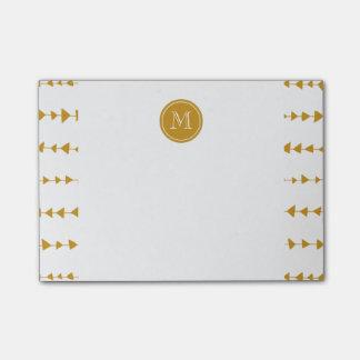 Gold White Aztec Arrows Monogram Post-it® Notes