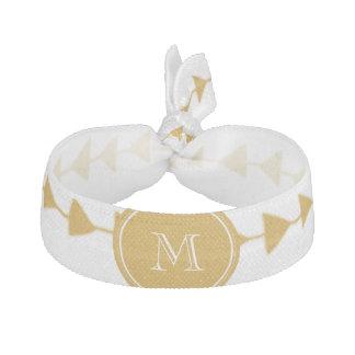 Gold White Aztec Arrows Monogram Ribbon Hair Tie