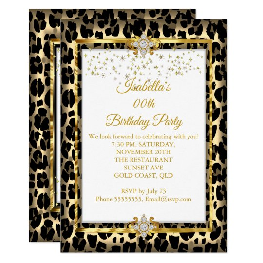 Gold White Black Animal Print Birthday Party Invitation