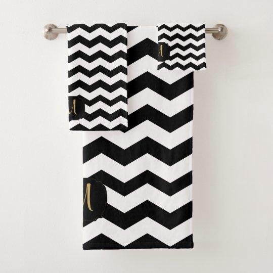 Black And White Chevron Hand Towels: Gold, White & Black Chevron Design Bath Towel Set