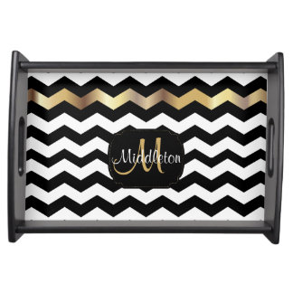 Gold, White & Black Chevron Design Serving Tray