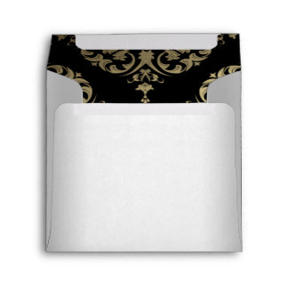 Gold White Black Damask Envelope