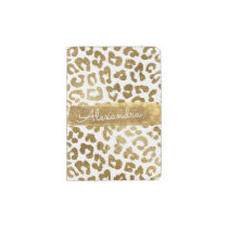 Gold & White Cheetah Animal Print Passport Holder