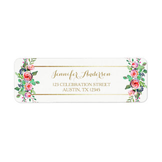 Gold White Chic Beautiful Floral Pink Roses Label