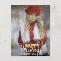 Gold White Christmas Happy Holidays Family | PHOTO Holiday Postcard