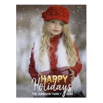 Gold White Christmas Happy Holidays Family | PHOTO Postcard