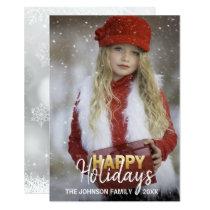 Gold White Christmas Holiday New Year | PHOTO Invitation