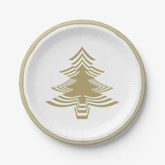 Gold/White Christmas Tree Font Geometric Pattern Paper Plate