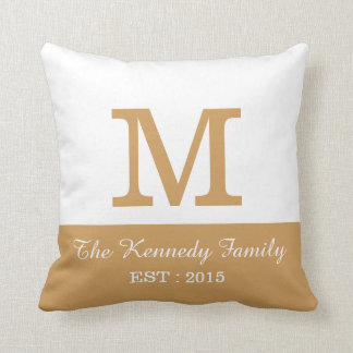 Gold White ColorBlock Reversible Family Monogram Throw Pillow