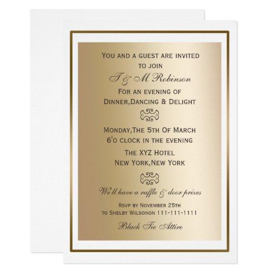 gold white corporate event invitations zazzle com