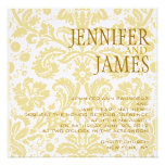 Gold White Cream Damask Summer Wedding Invitation