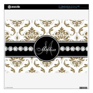 "Gold White Damask Diamonds Monogram 11"" MacBook Air Skin"